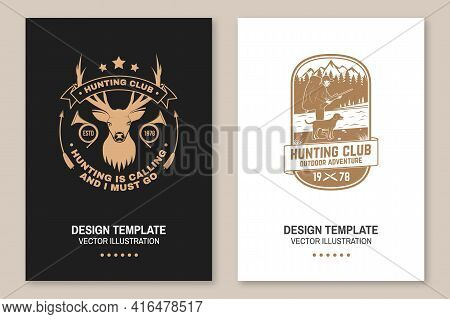 Set Of Hunting Club Badge. Vector. Flyer, Brochure, Banner, Poster Design With Deer And Hunting Horn
