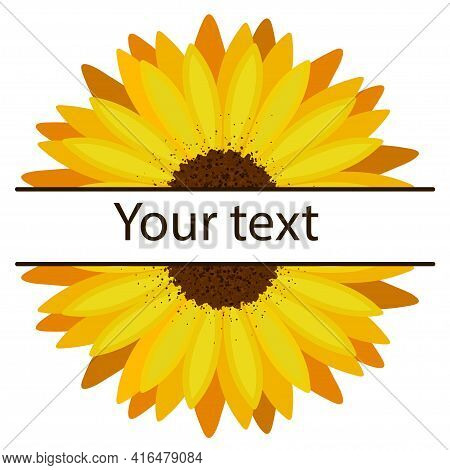 Sunflower Monogram With Horizontal Empty Frame For Text