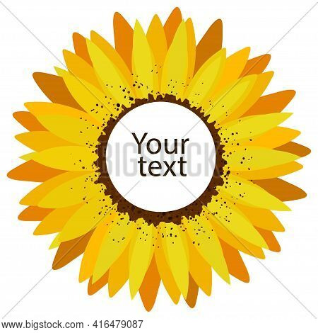 Sunflower Flower Frame With Empty Center For Text.