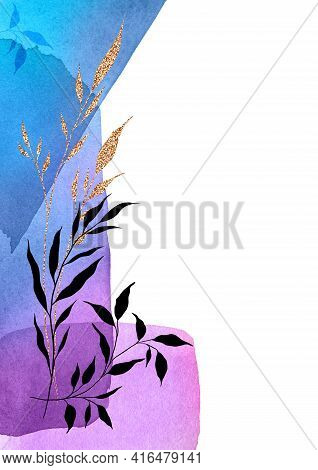 Black, Gold Plants, Leaves, Branches On Watercolor Shapes. Abstract Fluid Art Poster. Blue, Violet,