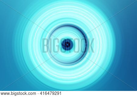 Abstract Radial Motion Blur On A Blue Background. Circle Glowing   Pattern For Label, Textiles, Garm