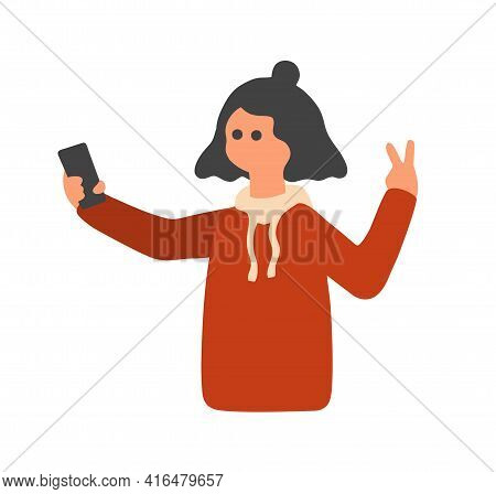 Young Pretty Girl Making Selfy Photo On Smartphone.