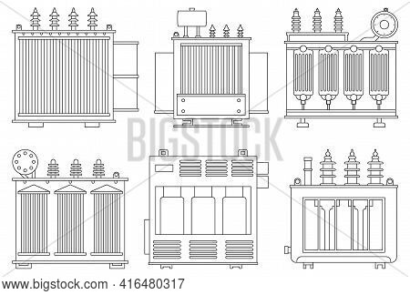 Transformer Electric Vector Installation On White Background . Isolated Outline Set Icon Energy Subs