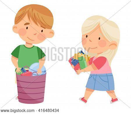 Little Boy And Girl Gathering Toys In Basket In Kindergarden Vector Illustration
