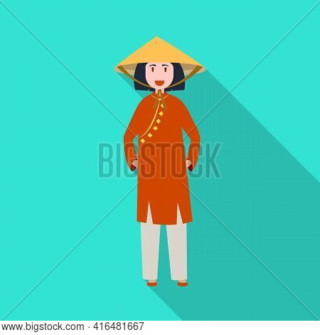 Vector Design Of Vietnamese And Woman Sign. Set Of Vietnamese And Girl Stock Symbol For Web.