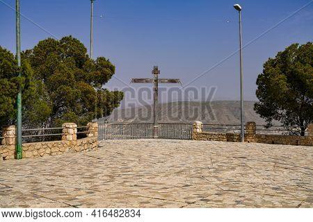 Famous Cross At La Virgen Del Buen Suceso Sanctuary In Cieza In Murcia Region, Spain With View Over