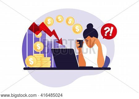 Depressed Sad Woman Thinking Over Problems. Bankruptcy, Loss, Crisis, Trouble Concept. Vector Illust