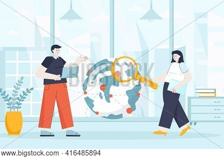 Outsourcing Company Concept In Flat Design. Remote Workers In Office Scene. Employees Work In Intern