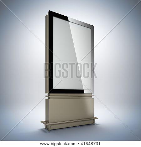Blank vertical billboard. 3D illustration of blank template layout empty metal billboard with black frame.