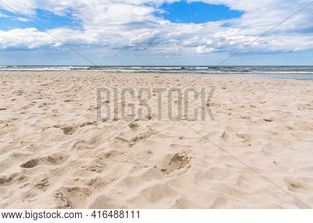 Empty Sandy Beach At Baltic Sea In Poland As Summer Background