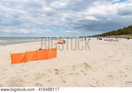 Windbreaks On The Sandy Beach At Baltic Sea In Poland