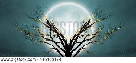 Mystic tree in moonlight. 3D rendering