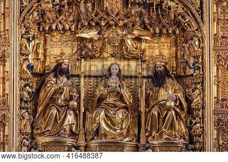 Gdansk, Poland - Sept 9, 2020: The Main Altar Of St. Mary's Church (basilica Mariacka) In Gdansk. Th
