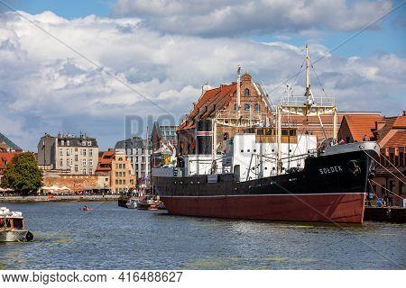 Gdansk, Poland - Sept 6, 2020: Soldek The First Ship Built In Poland After World War Ii To The Gdans