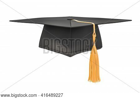 Square Academic Cap, Graduate Cap. 3d Rendering Isolated On White Background