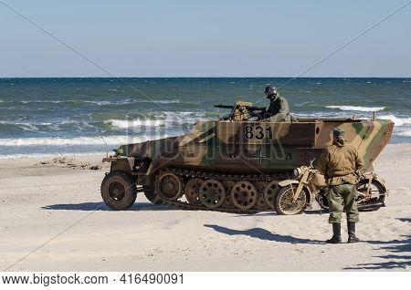 Kolobrzeg, West Pomeranian / Poland - 2018:  Reconstruction Of Battle For Kolobrzeg - German Soldier