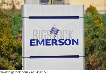 Baar, Zug, Switzerland - 28th March 2021 : Emerson Electric Co. Company Sign In Baar, Switzerland. E