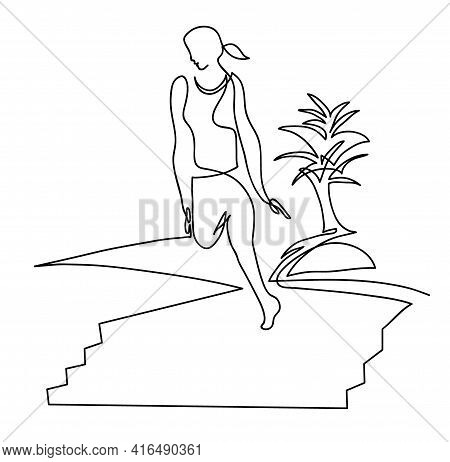 One Line Drawing Of Woman Athlete Going Down Stairs One Continuous Line Drawing Of Healthy Lifestyle