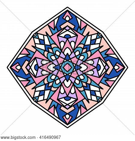 Floral Mandala Icon. Hand Drawn And Outline Illustration Of Floral Mandala Vector Icon For Web Desig