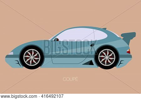 Coupe Car Fully Editable, Flat Design, Side View