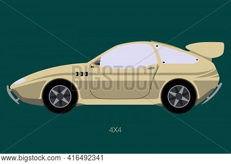 Coupe Road Car Side View, Flat Design, Side View