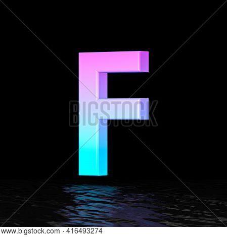Cyan Magenta Font Letter F 3d Render Illustration Isolated On Black Background