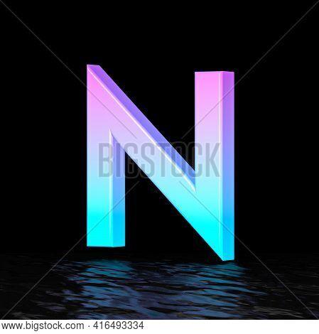 Cyan Magenta Font Letter N 3d Render Illustration Isolated On Black Background