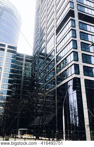 Corporate Office Building In Financial District, Modern Skyscraper In City Downtown, Commercial Real
