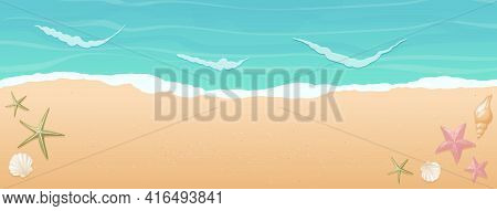 Vector Cartoon Horizontal Background With Gradient. Top View Of The Sunny Beach By The Sea Or Ocean.