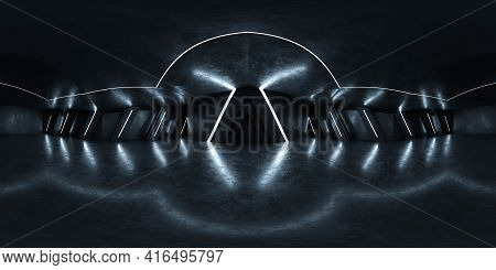 360 Spherical Panorama View Of Dark Basement Building Interior Futuristic Cyber Punk Industrial Styl