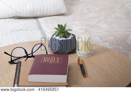 Bible, Book, Page, Reading, Christianity, Concept, Table, Education, God, Holy, Horizontal, Indoors,
