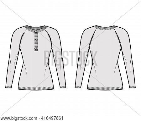 Sweater Henley Neck Technical Fashion Illustration With Long Raglan Sleeves, Slim Fit, Hip Length, R