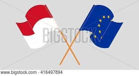 Crossed And Waving Flags Of Indonesia And The Eu