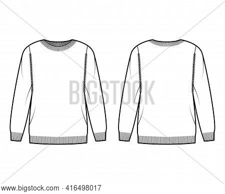 Sweater Technical Fashion Illustration With Rib Crew Neck, Long Sleeves, Oversized, Thigh Length, Kn