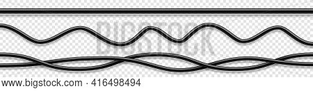 Set Of Black Flexible Cables With Shadow. Electrical Wire. Realistic Power Or Network Cable. Vector