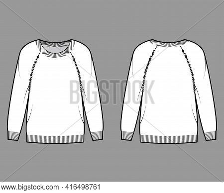 Sweater Technical Fashion Illustration With Round Neck, Long Raglan Sleeves, Regular Fit, Fingertip