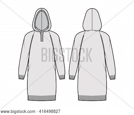 Dress Hooded Sweater Technical Fashion Illustration With Rib Henley Neck, Long Raglan Sleeves, Relax