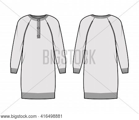 Dress Sweater Henley Neck Technical Fashion Illustration With Long Raglan Sleeves, Relax Fit, Knee L