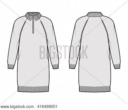 Dress Zip-up Sweater Technical Fashion Illustration With Rib Henley Neck, Classic Collar, Long Ragla