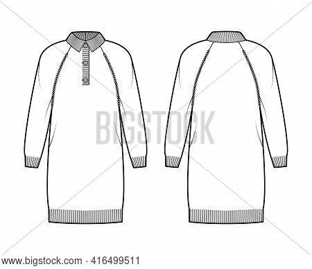Dress Polo Sweater Technical Fashion Illustration With Rib Henley Neck, Collar, Long Raglan Sleeves,