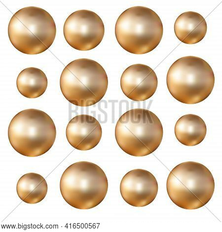Gold Beads Isolated On White Background Close Up. Gold Ball With A Metallic Sheen Effect. Realistic