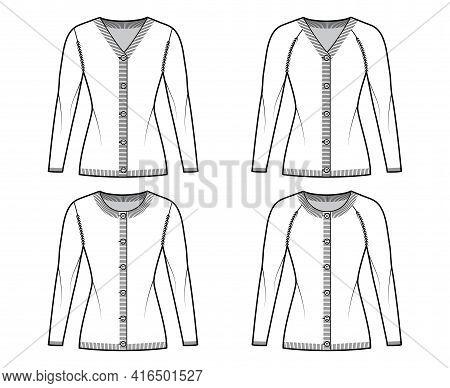 Set Of Cardigans Sweater Technical Fashion Illustration With Rib Crew V- Neck, Long Raglan Sleeves,
