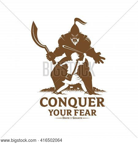 Conquer Your Fear David And Goliath Concept Vector Illustration Monochrome Version For Logo T-shirt