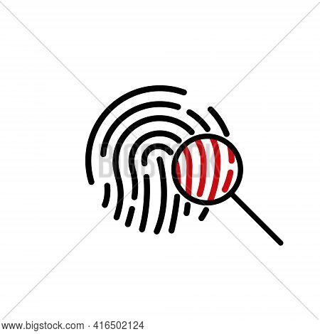 Search Fingerprint Icon. Magnifying Glass Identification Icon. Fingerprint Through Magnifying Glass.