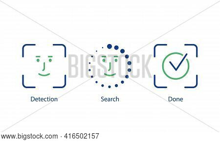 Face Scanning Process Line Icons. Face Id Icon For Approving Password. Face Identification Line Icon