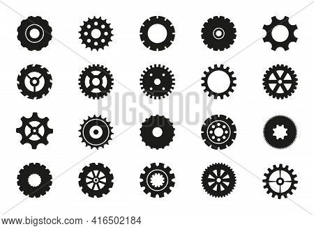 Black Machine Gears Set. Transmission Cog Wheels And Gear Icons Isolated On White Background. Cogwhe