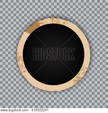 Vintage Photo Frame On Transparent Background. Retro Old Paper Picture Photo Frame Template For Nost