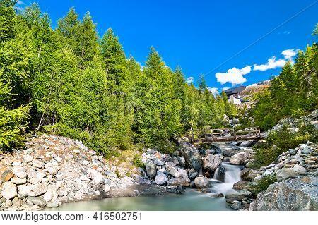 Findelbach Brook At The Pennine Alps In Switzerland