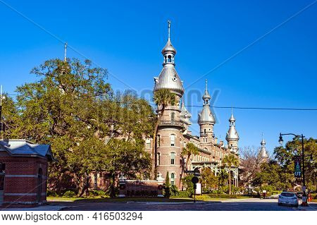 Tampa, Florida - December 30, 2017: Iconic Symbol Of Tampa - Central Building Of University Of Tampa