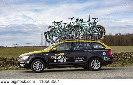 Fains-la-folie, France - March 5, 2018: The Technical Car Of Lottonl-jumbo Team Driving On A Country